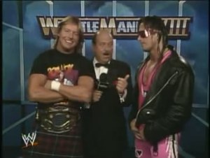 Roddy Piper and Bret Hart interviewed pre match by Mean Gene