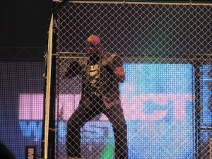 Devon taunts the fans after the match