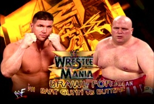 The Brawl for All tournament culminated in the match between Bart Gunn and Butterbean at Wrestlemania 15 (pic courtesy of http://www.bastardgentlemen.com/)