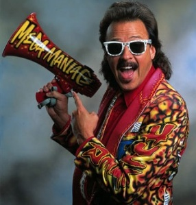 Jimmy Hart in typically loud attire complete with megaphone (Image courtesy of www.last.fm)