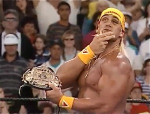 Hogan, complete with black eye, holds the WWF title after defeating Yokozuna in less than a minute (Image courtesy of www.cagesideseats.com)