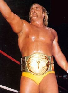 Hulk Hogan wearing the original Big Green WWF  Championship belt shortly after winning it in 1984 (Image courtesy of http://www.wildcatbelts.com/)
