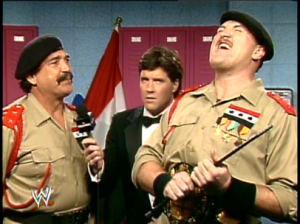 3325 - general_adnan hat laughing microphone sean_mooney sgt._slaughter suit wrestlemania wwf wwf_championship