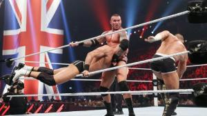 Randy Orton en route to defeating the WWE Tag Team Champions in a handicap match