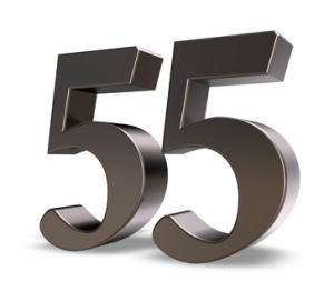 metal number fifty five on white background - 3d illustration