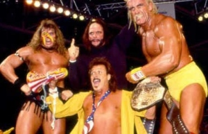 For once the other guy next to Hogan and Savage is not Brutus Beefcake