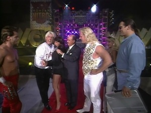 The Four Horsemen in late '96: Benoit and Mongo on opposite sides, one member consistently missing, Ric Flair dancing and Jeff Jarrett at the centre of it all