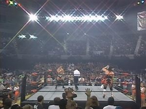 Dean Malenko vs Eddie Guerrero in a Hooters Girl Lumberjack Match